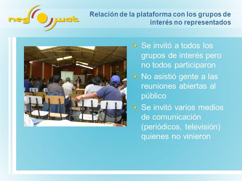 Relación de la plataforma con los grupos de interés no representados Se invitó a todos los grupos de interés pero no todos participaron No asistió gen