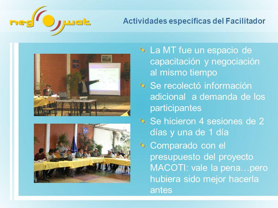 Actividades específicas del Facilitador La MT fue un espacio de capacitación y negociación al mismo tiempo Se recolectó información adicional a demand
