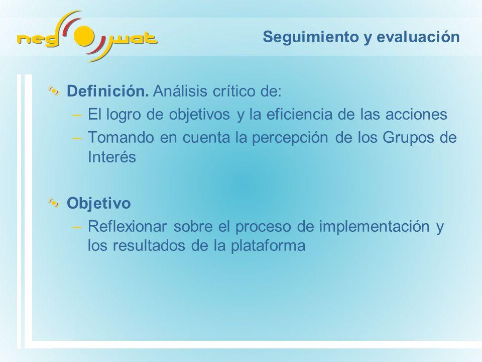 Seguimiento y evaluación Definición. Análisis crítico de: –El logro de objetivos y la eficiencia de las acciones –Tomando en cuenta la percepción de l