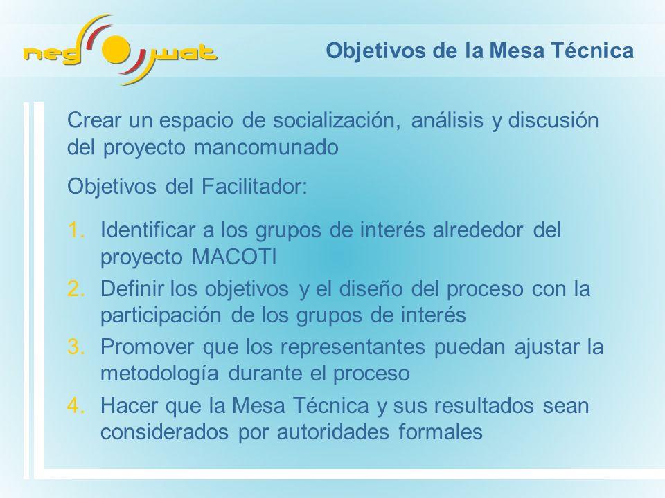 Objetivos de la Mesa Técnica 1.Identificar a los grupos de interés alrededor del proyecto MACOTI 2.Definir los objetivos y el diseño del proceso con l