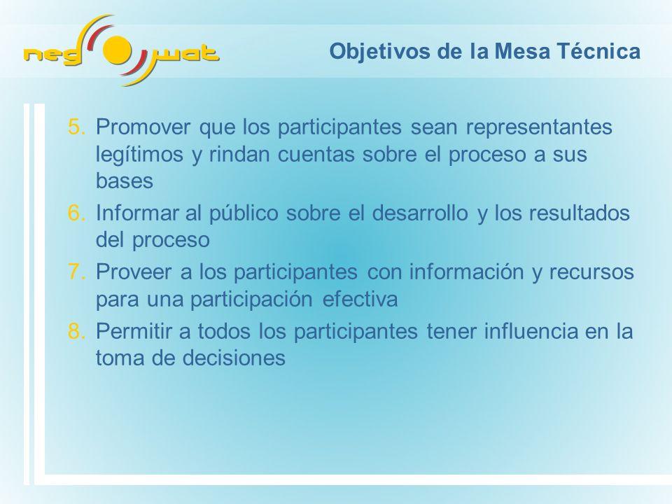 Objetivos de la Mesa Técnica 5.Promover que los participantes sean representantes legítimos y rindan cuentas sobre el proceso a sus bases 6.Informar a