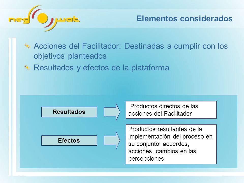 Elementos considerados Acciones del Facilitador: Destinadas a cumplir con los objetivos planteados Resultados y efectos de la plataforma Resultados Productos directos de las acciones del Facilitador Efectos Productos resultantes de la implementación del proceso en su conjunto: acuerdos, acciones, cambios en las percepciones