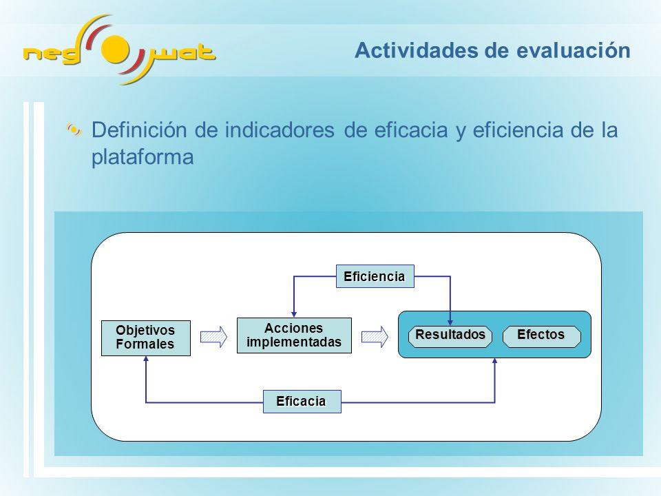 Actividades de evaluación Definición de indicadores de eficacia y eficiencia de la plataforma Eficiencia Eficacia Acciones implementadas Objetivos Formales ResultadosEfectos