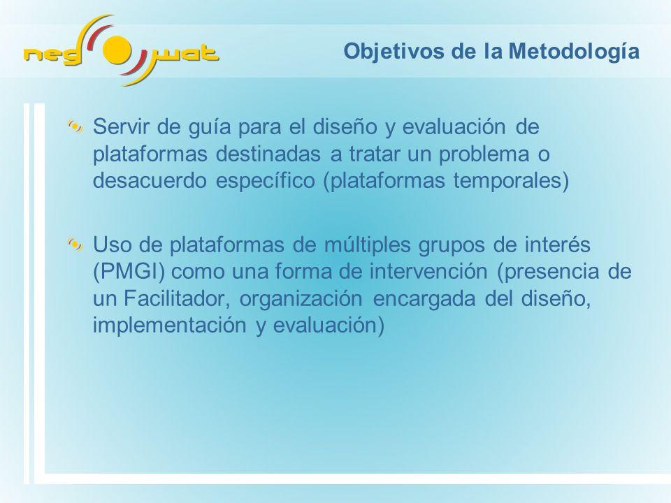 Objetivos de la Metodología Servir de guía para el diseño y evaluación de plataformas destinadas a tratar un problema o desacuerdo específico (plataformas temporales) Uso de plataformas de múltiples grupos de interés (PMGI) como una forma de intervención (presencia de un Facilitador, organización encargada del diseño, implementación y evaluación)
