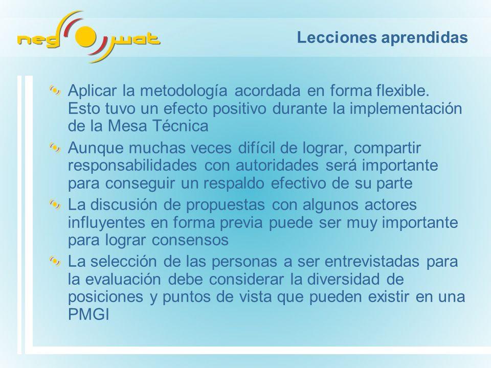 Aplicar la metodología acordada en forma flexible.