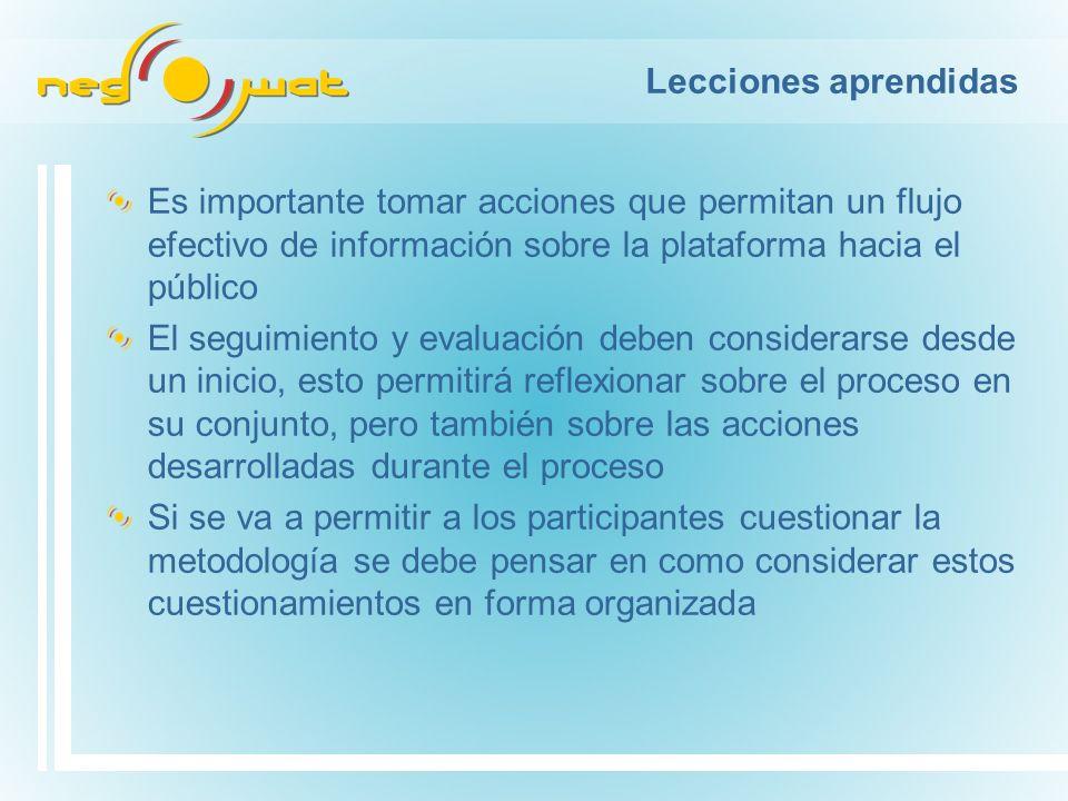 Lecciones aprendidas Es importante tomar acciones que permitan un flujo efectivo de información sobre la plataforma hacia el público El seguimiento y