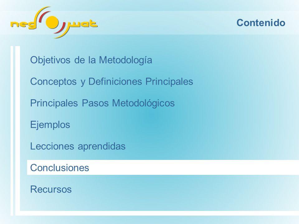 Contenido Objetivos de la Metodología Conceptos y Definiciones Principales Principales Pasos Metodológicos Ejemplos Conclusiones Recursos Lecciones aprendidas