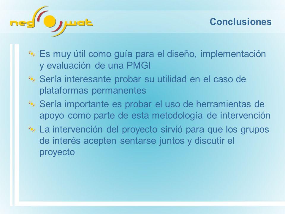 Conclusiones Es muy útil como guía para el diseño, implementación y evaluación de una PMGI Sería interesante probar su utilidad en el caso de platafor