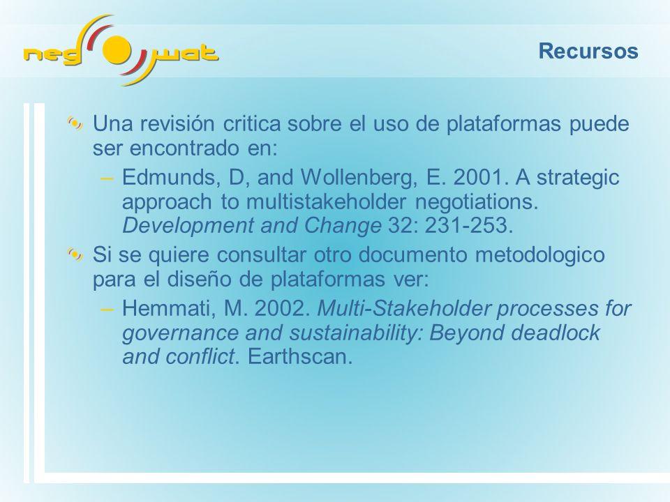 Recursos Una revisión critica sobre el uso de plataformas puede ser encontrado en: –Edmunds, D, and Wollenberg, E.