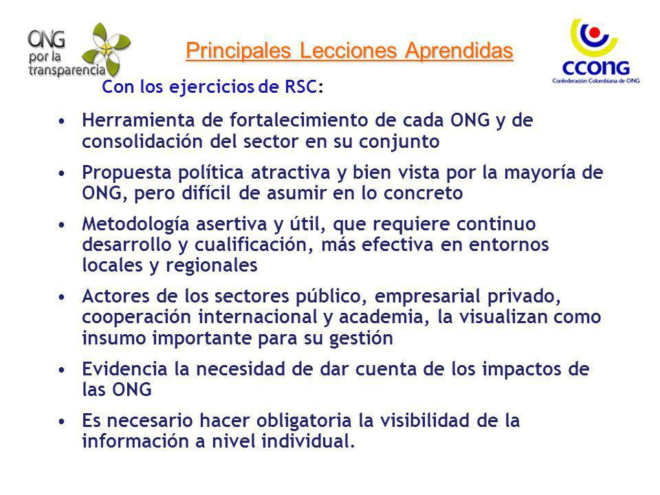 Principales Lecciones Aprendidas Con los ejercicios de RSC: Herramienta de fortalecimiento de cada ONG y de consolidación del sector en su conjunto Pr