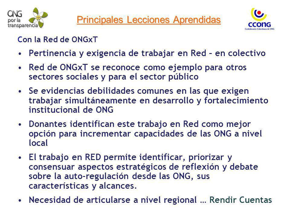 Principales Lecciones Aprendidas Con la Red de ONGxT Pertinencia y exigencia de trabajar en Red – en colectivo Red de ONGxT se reconoce como ejemplo p