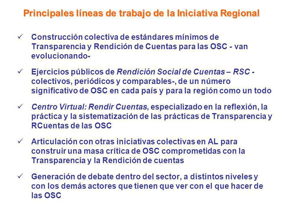 Principales líneas de trabajo de la Iniciativa Regional Construcción colectiva de estándares mínimos de Transparencia y Rendición de Cuentas para las