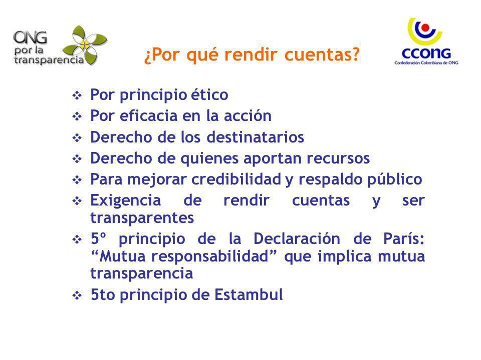 ¿Por qué rendir cuentas? Por principio ético Por eficacia en la acción Derecho de los destinatarios Derecho de quienes aportan recursos Para mejorar c