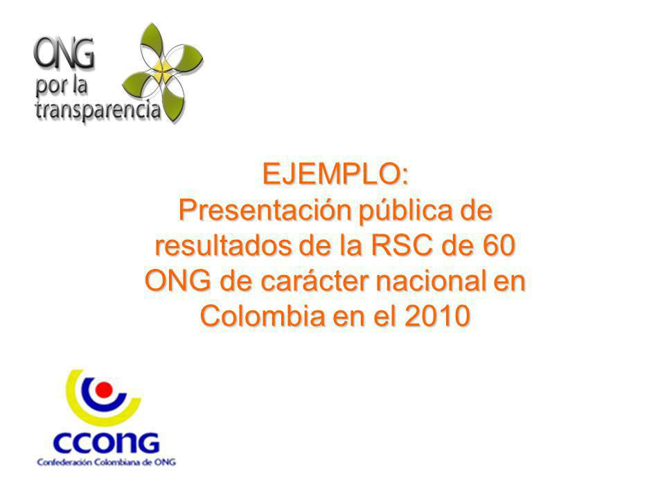 EJEMPLO: Presentación pública de resultados de la RSC de 60 ONG de carácter nacional en Colombia en el 2010