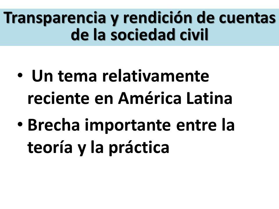 Transparencia y rendición de cuentas de la sociedad civil Un tema relativamente reciente en América Latina Brecha importante entre la teoría y la prác
