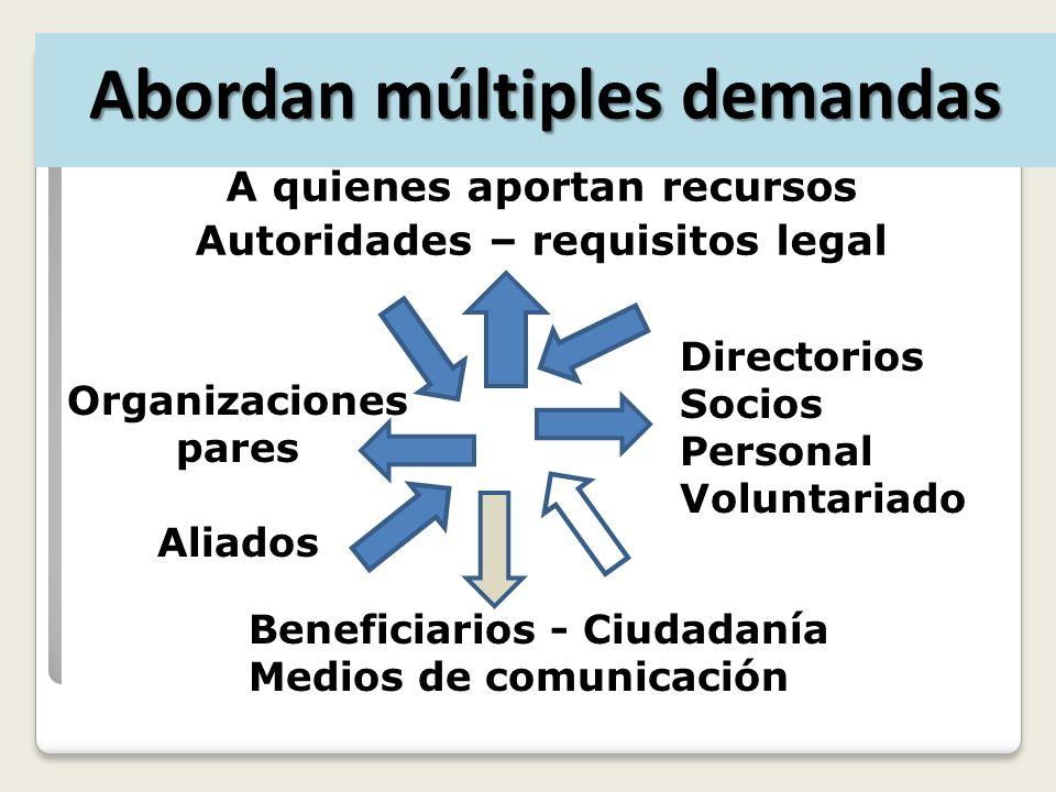 A quienes aportan recursos Autoridades – requisitos legal Directorios Socios Personal Voluntariado Beneficiarios - Ciudadanía Medios de comunicación Organizaciones pares Aliados Abordan múltiples demandas