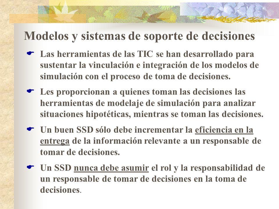 Modelos y sistemas de soporte de decisiones Las herramientas de las TIC se han desarrollado para sustentar la vinculación e integración de los modelos