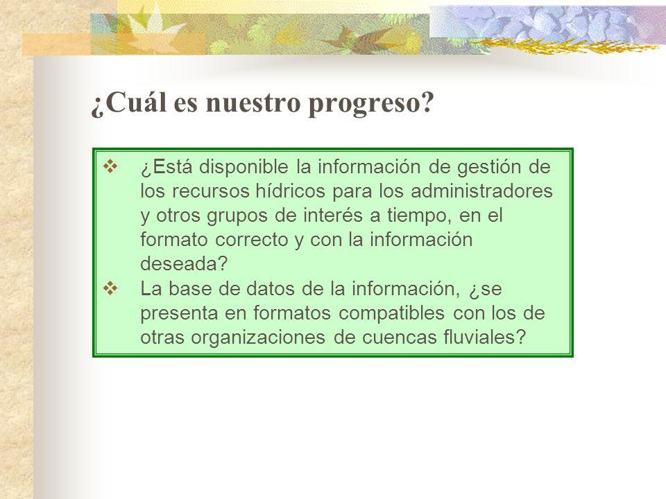¿Cuál es nuestro progreso? ¿Está disponible la información de gestión de los recursos hídricos para los administradores y otros grupos de interés a ti