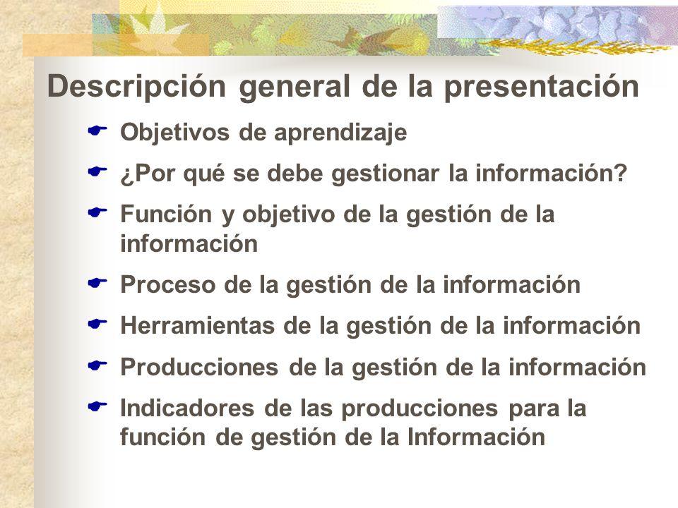 Descripción general de la presentación Objetivos de aprendizaje ¿Por qué se debe gestionar la información? Función y objetivo de la gestión de la info