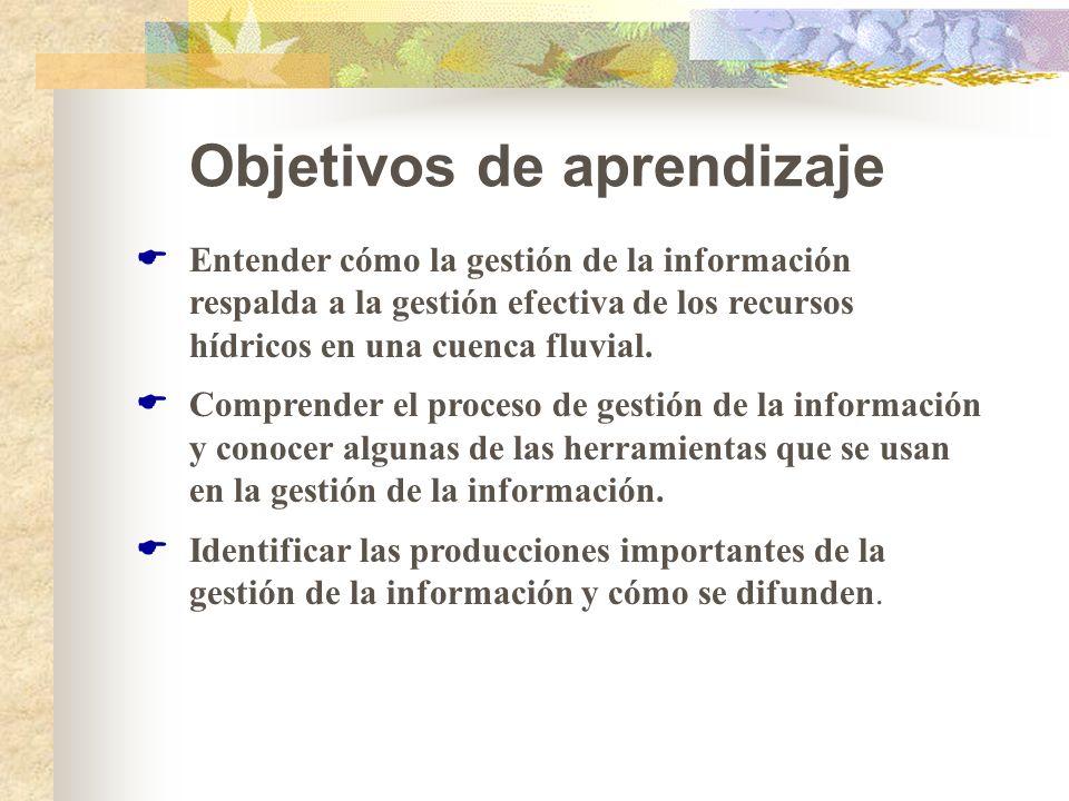 Objetivos de aprendizaje Entender cómo la gestión de la información respalda a la gestión efectiva de los recursos hídricos en una cuenca fluvial. Com