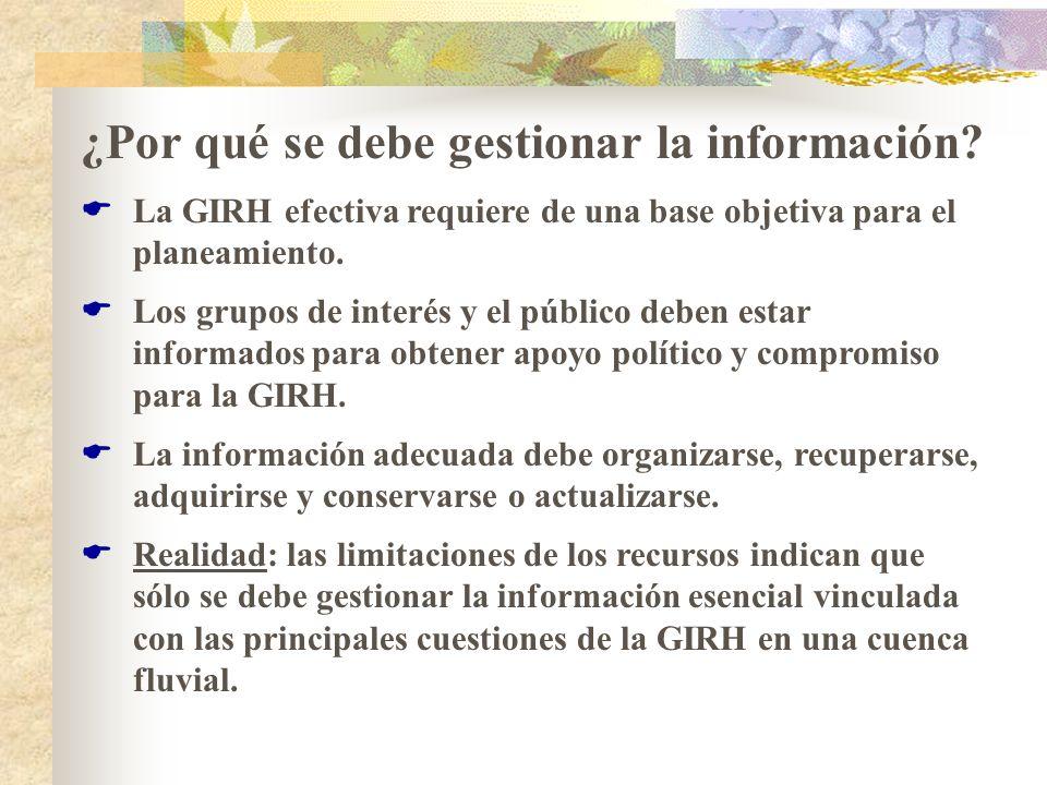 ¿Por qué se debe gestionar la información? La GIRH efectiva requiere de una base objetiva para el planeamiento. Los grupos de interés y el público deb