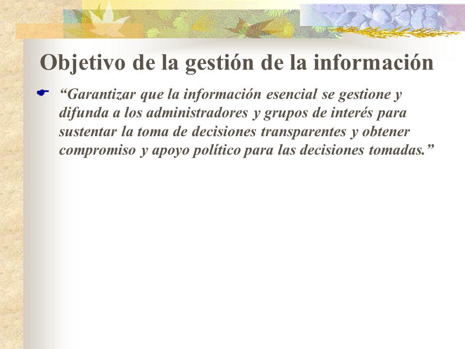 Objetivo de la gestión de la información Garantizar que la información esencial se gestione y difunda a los administradores y grupos de interés para s