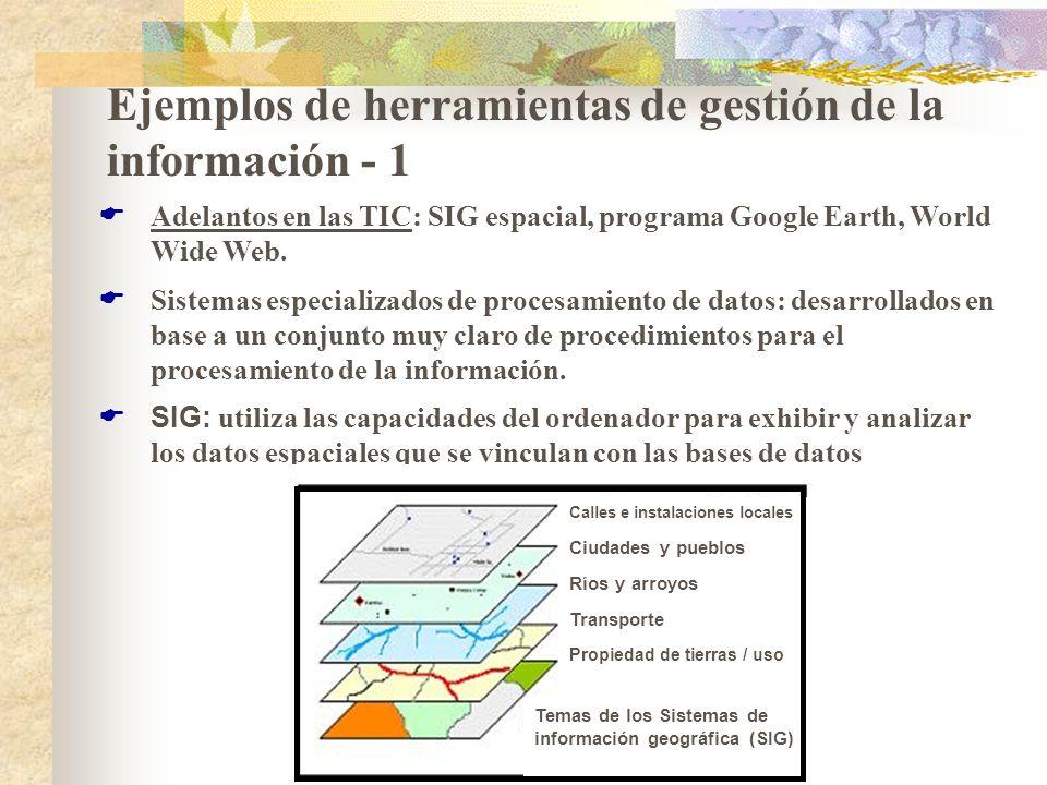Ejemplos de herramientas de gestión de la información - 1 Adelantos en las TIC: SIG espacial, programa Google Earth, World Wide Web. Sistemas especial