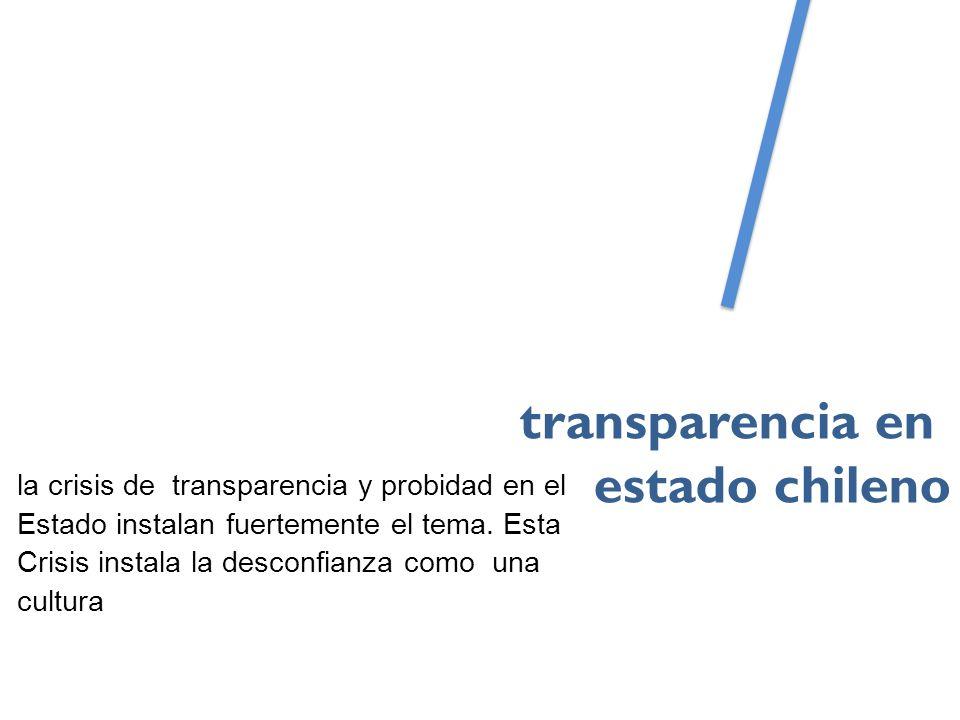 la crisis de transparencia y probidad en el Estado instalan fuertemente el tema.