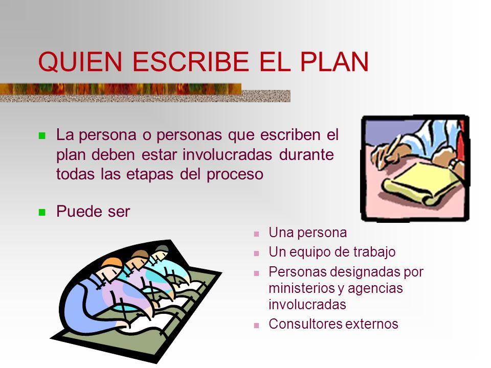 QUIEN ESCRIBE EL PLAN La persona o personas que escriben el plan deben estar involucradas durante todas las etapas del proceso Puede ser Una persona U