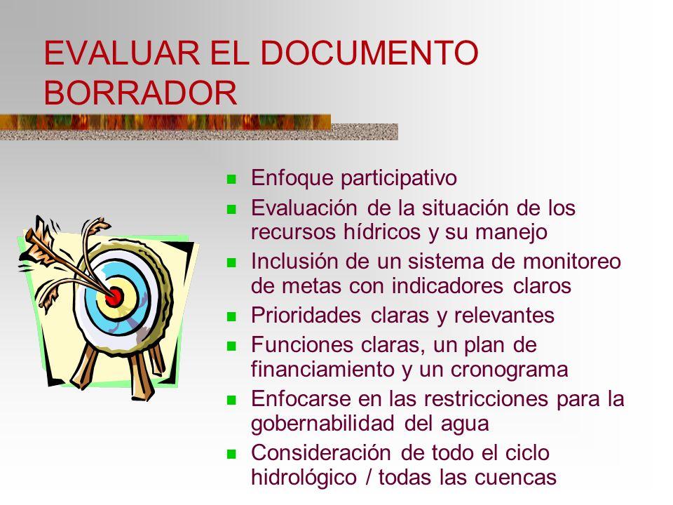 EVALUAR EL DOCUMENTO BORRADOR Enfoque participativo Evaluación de la situación de los recursos hídricos y su manejo Inclusión de un sistema de monitor