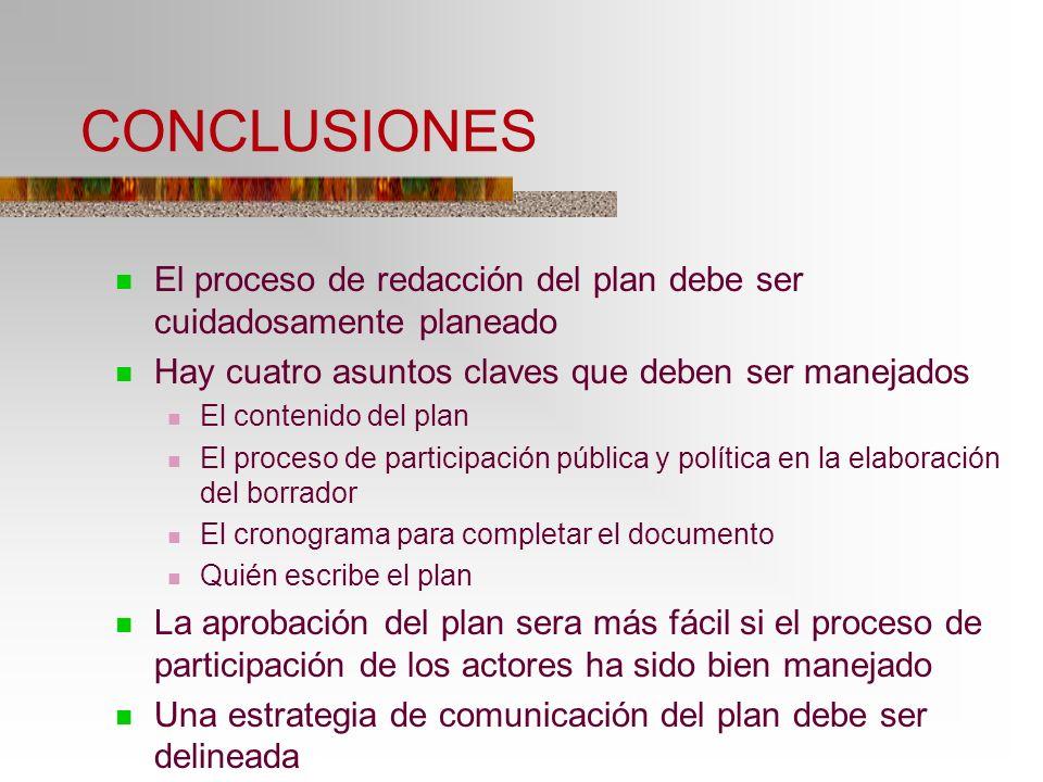 CONCLUSIONES El proceso de redacción del plan debe ser cuidadosamente planeado Hay cuatro asuntos claves que deben ser manejados El contenido del plan