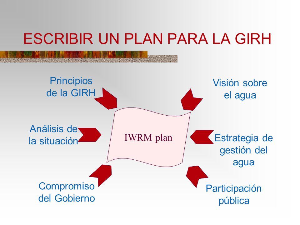 ESCRIBIR UN PLAN PARA LA GIRH IWRM plan Participación pública Principios de la GIRH Visión sobre el agua Análisis de la situación Estrategia de gestió
