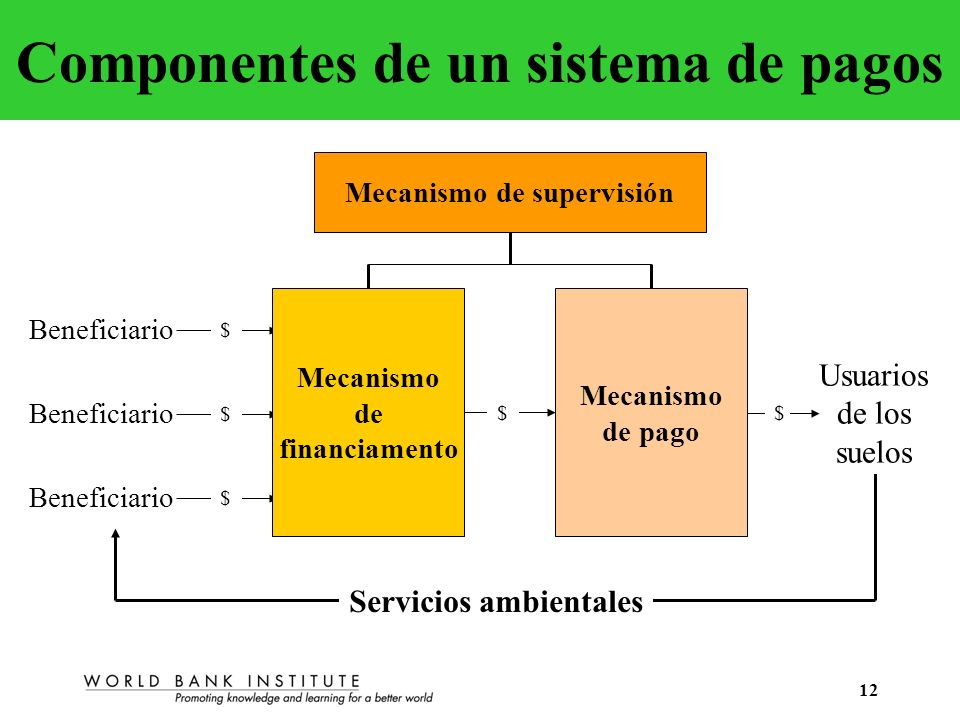 12 Componentes de un sistema de pagos Servicios ambientales Usuarios de los suelos Beneficiario $ $ $ $$ Mecanismo de supervisión Mecanismo de financi