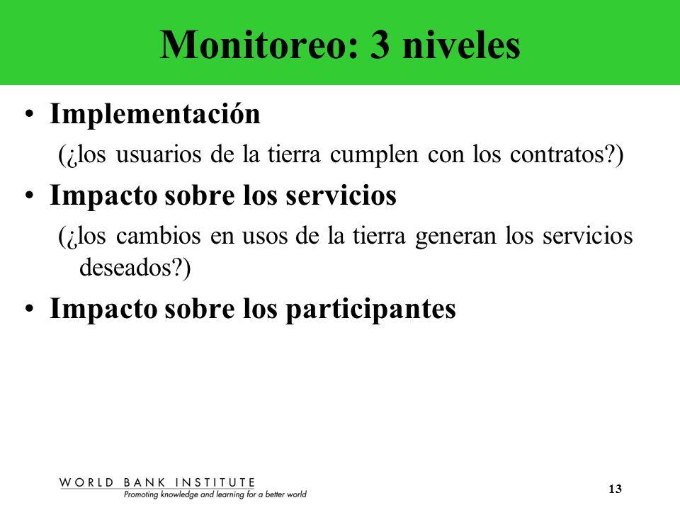 13 Monitoreo: 3 niveles Implementación (¿los usuarios de la tierra cumplen con los contratos?) Impacto sobre los servicios (¿los cambios en usos de la