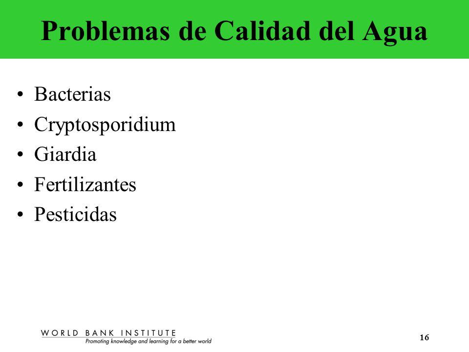 16 Problemas de Calidad del Agua Bacterias Cryptosporidium Giardia Fertilizantes Pesticidas