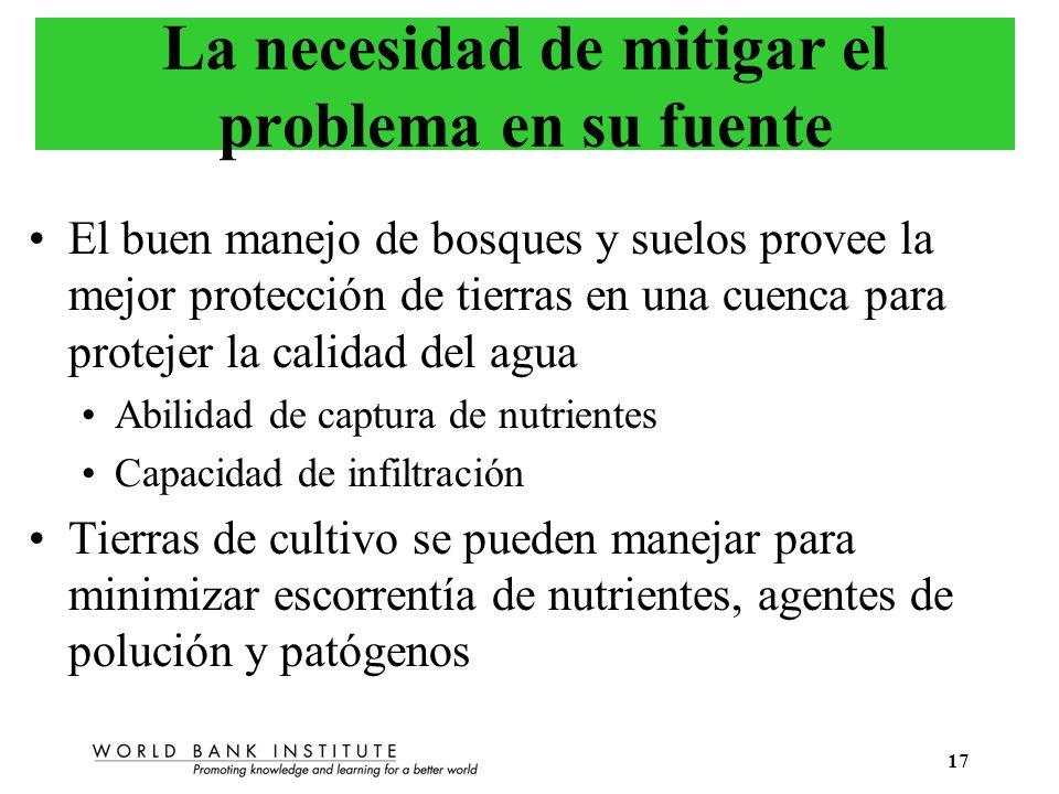 17 La necesidad de mitigar el problema en su fuente El buen manejo de bosques y suelos provee la mejor protección de tierras en una cuenca para protej