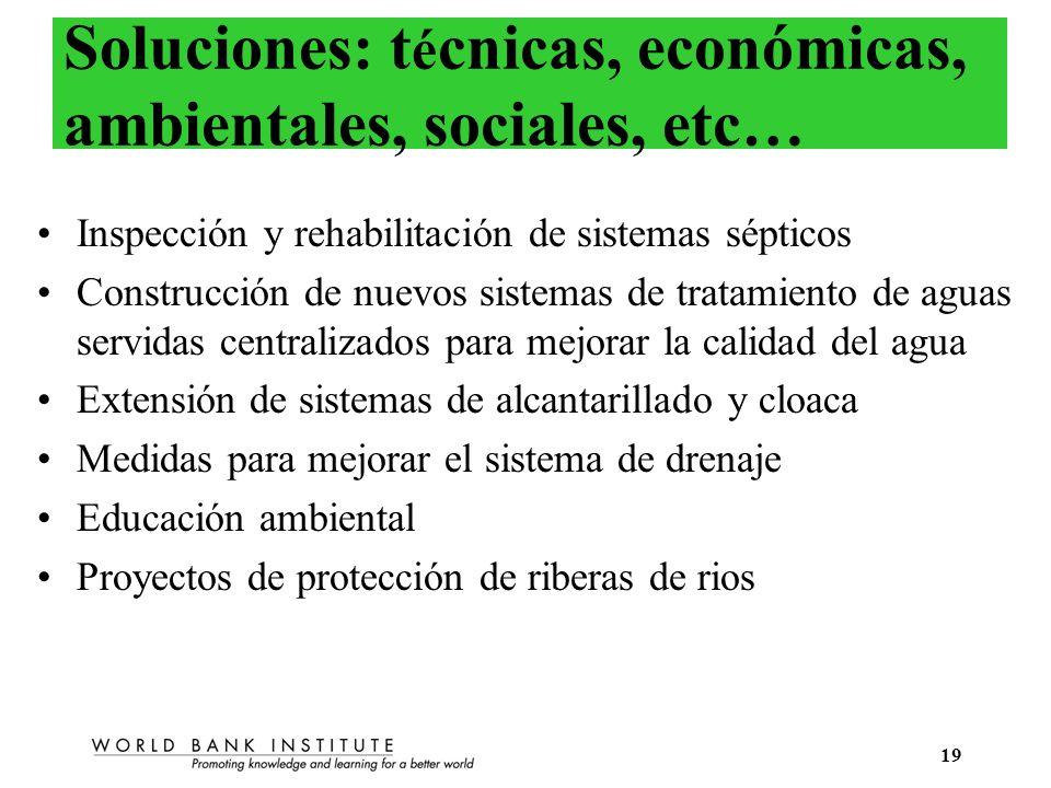 19 Soluciones: t é cnicas, económicas, ambientales, sociales, etc… Inspección y rehabilitación de sistemas sépticos Construcción de nuevos sistemas de