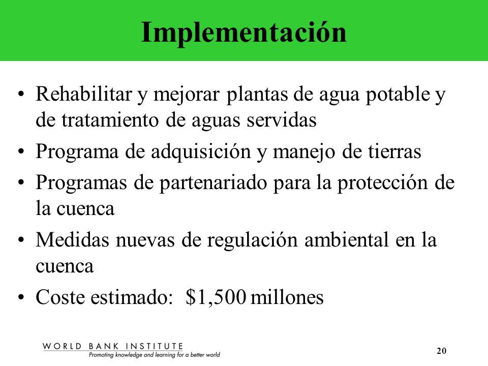 20 Implementación Rehabilitar y mejorar plantas de agua potable y de tratamiento de aguas servidas Programa de adquisición y manejo de tierras Program