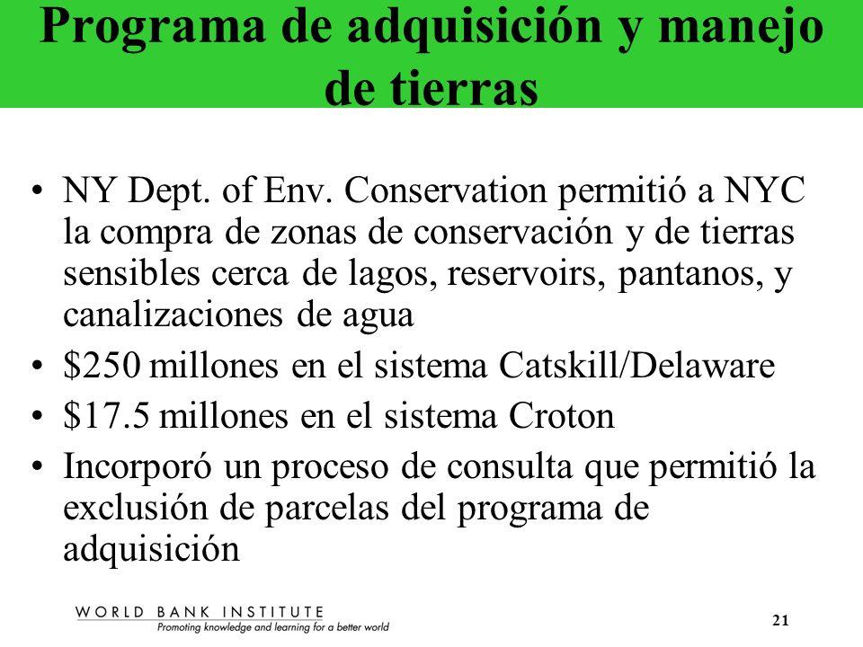 21 Programa de adquisición y manejo de tierras NY Dept. of Env. Conservation permitió a NYC la compra de zonas de conservación y de tierras sensibles
