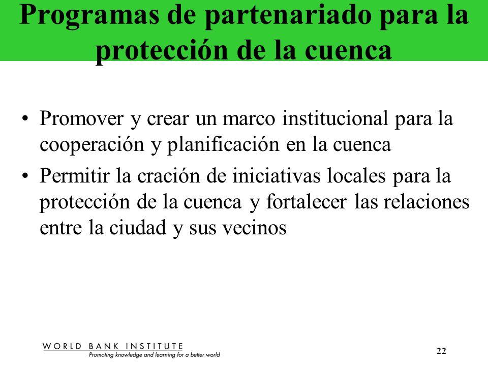 22 Programas de partenariado para la protección de la cuenca Promover y crear un marco institucional para la cooperación y planificación en la cuenca