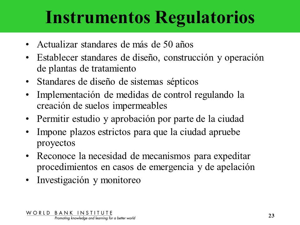 23 Instrumentos Regulatorios Actualizar standares de más de 50 años Establecer standares de diseño, construcción y operación de plantas de tratamiento