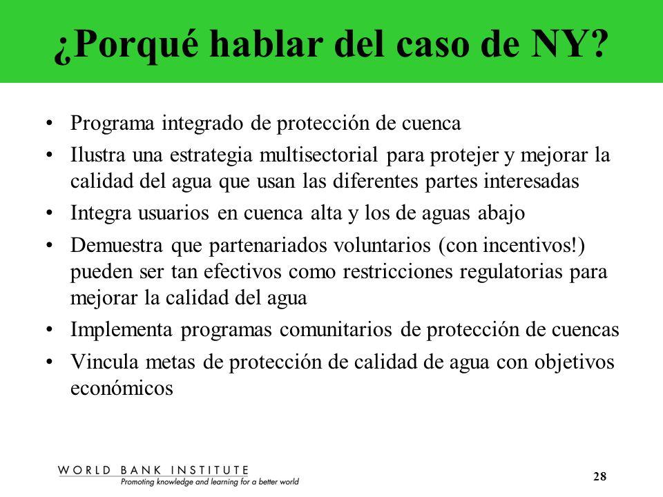 28 ¿Porqué hablar del caso de NY? Programa integrado de protección de cuenca Ilustra una estrategia multisectorial para protejer y mejorar la calidad