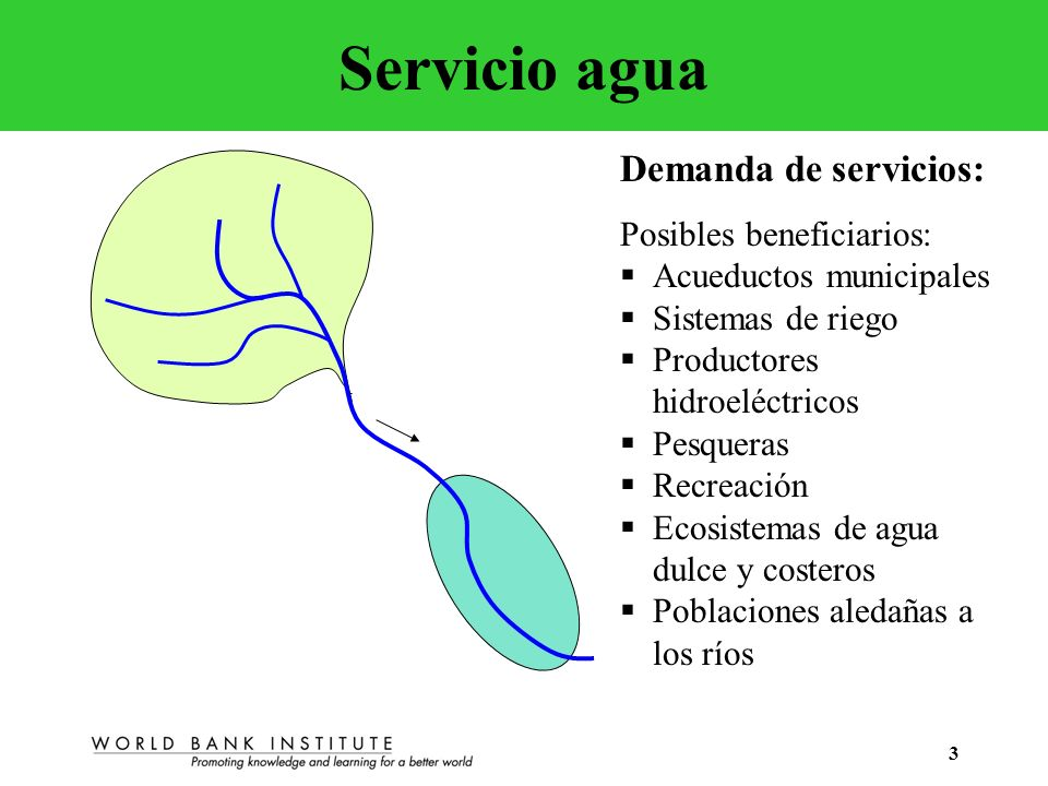 3 Servicio agua Demanda de servicios: Posibles beneficiarios: Acueductos municipales Sistemas de riego Productores hidroeléctricos Pesqueras Recreació