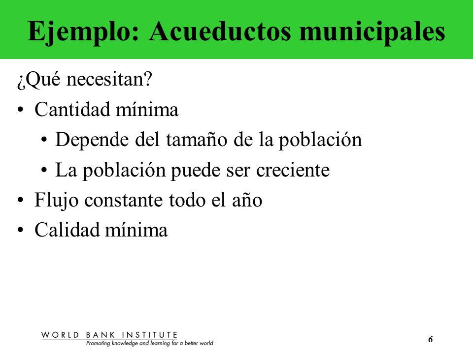 6 Ejemplo: Acueductos municipales ¿Qué necesitan? Cantidad mínima Depende del tamaño de la población La población puede ser creciente Flujo constante
