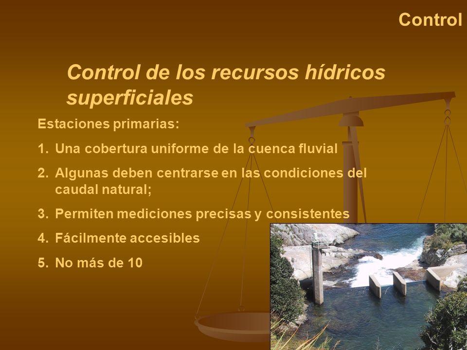 Control de los recursos hídricos superficiales Control Estaciones primarias: 1.Una cobertura uniforme de la cuenca fluvial 2.Algunas deben centrarse e
