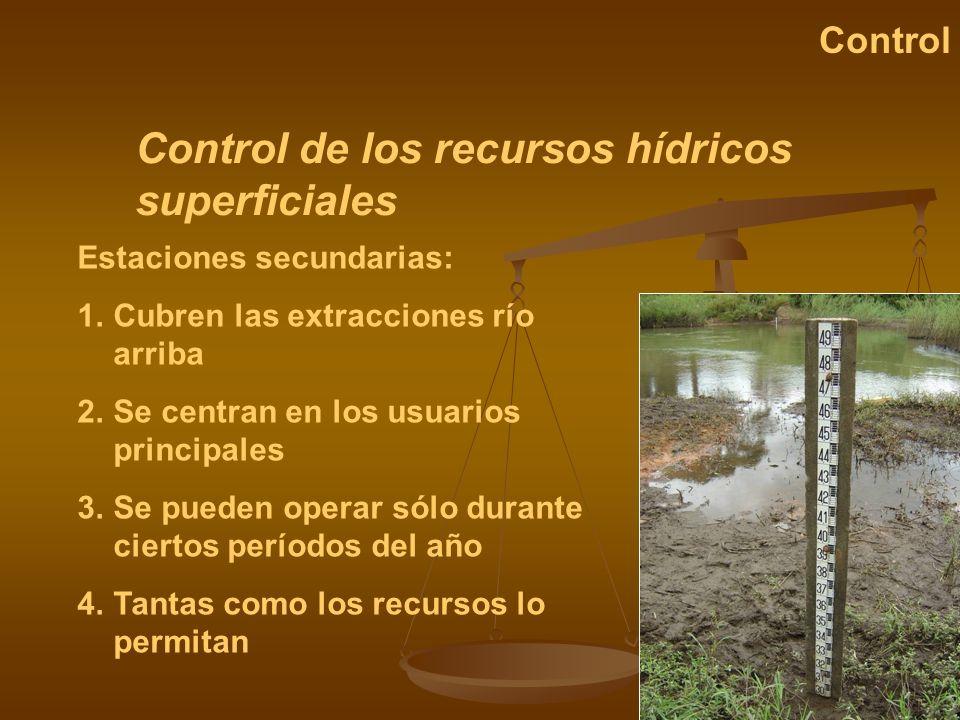 Control de los recursos hídricos superficiales Control Estaciones secundarias: 1.Cubren las extracciones río arriba 2.Se centran en los usuarios princ
