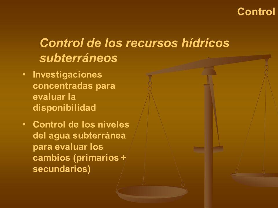 Control de los recursos hídricos subterráneos Control Investigaciones concentradas para evaluar la disponibilidad Control de los niveles del agua subt