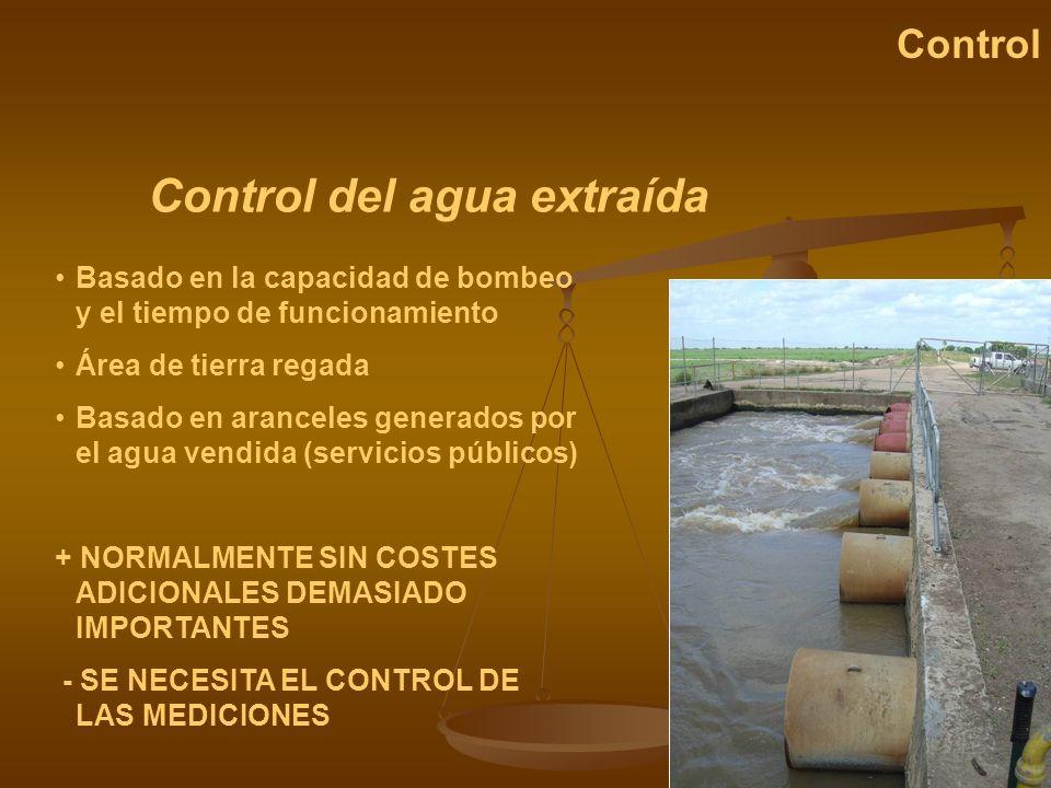 Control del agua extraída Control Basado en la capacidad de bombeo y el tiempo de funcionamiento Área de tierra regada Basado en aranceles generados p