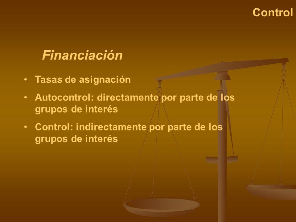Financiación Control Tasas de asignación Autocontrol: directamente por parte de los grupos de interés Control: indirectamente por parte de los grupos