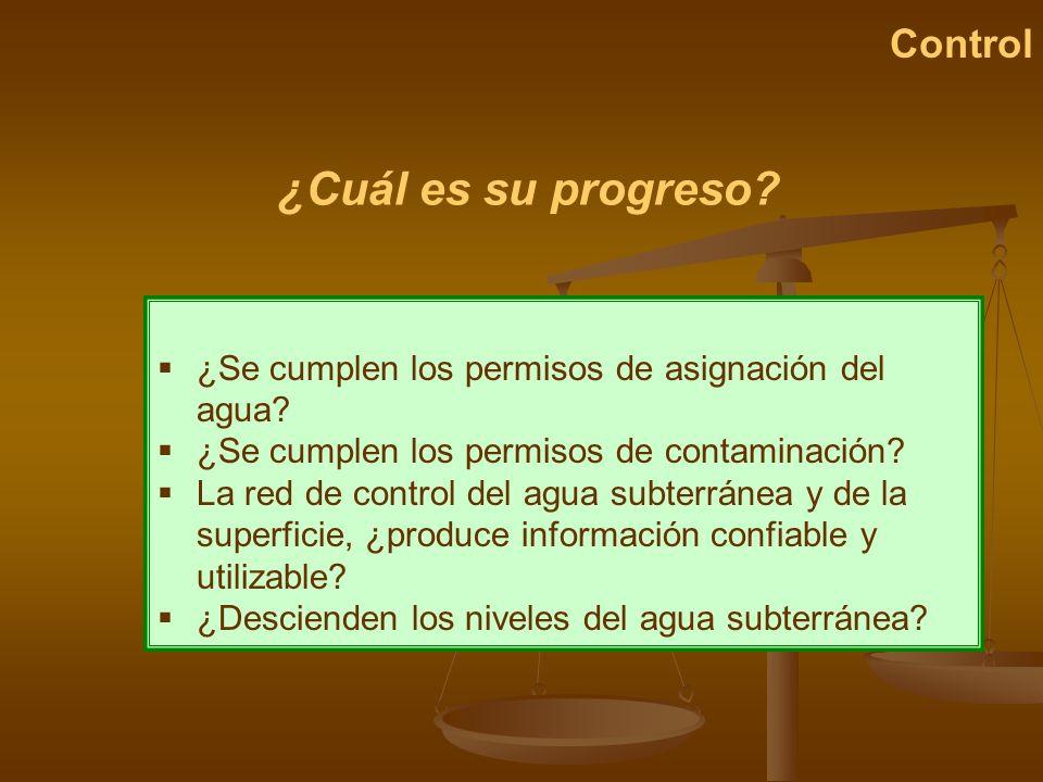 ¿Cuál es su progreso? Control ¿Se cumplen los permisos de asignación del agua? ¿Se cumplen los permisos de contaminación? La red de control del agua s